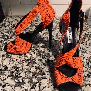 Steve Madden orange with black stilettos